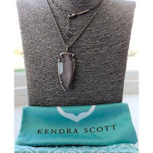 Kendra Scott Kimmy White Banded Agate Necklace Bag